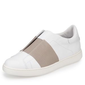 Vince Vista Embossed Leather Sneakers White